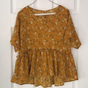 Yellow floral peplum blouse